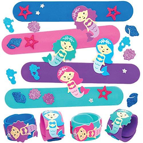 Baker Ross Pulseras con Cierre a Presión con Sirena AT713 (paquete de 4) para bolsas de fiestas o juguetes para niños, surtidos