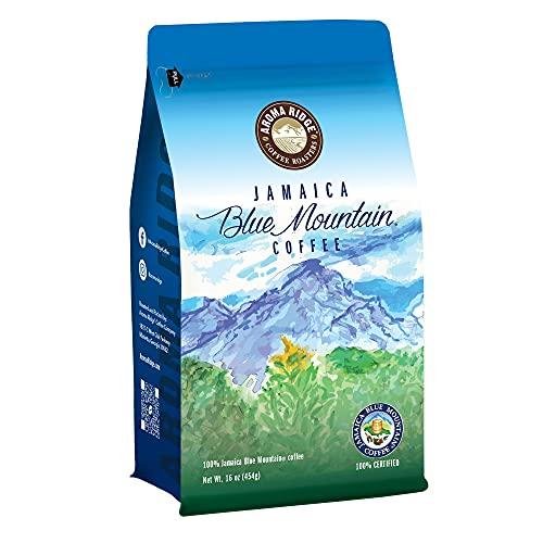 Aroma Ridge Jamaica Blue Mountain(R) Peaberry Coffee, 100% Pure, Whole Bean Coffee, Fresh Roasted, 16-ounce Medium Roast | Single Origin Coffee with Hints of Cocoa | Gourmet Coffee Beans