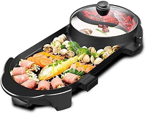 SEAAN Electric Hot Pot And BBQ Grill, 2000W Multifunctional Smokeless BBQ Hot Pot Integrated Kitchen Pot Large Capacity Family Party Kitchenware