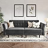 Belffin Velvet Convertible Futon Sofa Bed Memory Foam Futon Couch Sleeper Sofa Grey