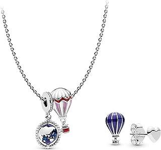 Tanabata Gift Romantic Wish Set S925 Collana in argento Orecchini Guan Xiaotong Same Hot Air Balloon Sterling Silver Clavi...