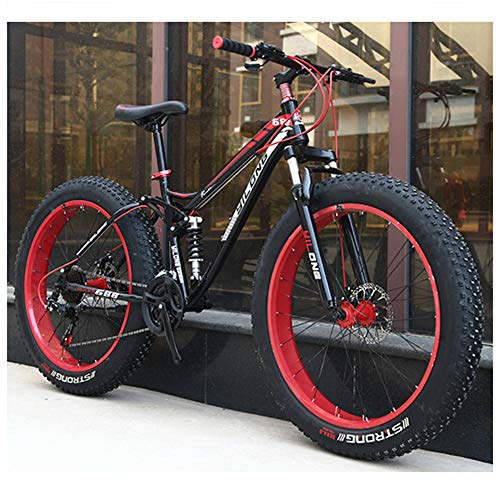 """QIMENG 24""""/26"""" Wheel Mountain Bike Fat Bike da Montagna 21/24/27 velocità Telaio in Acciaio Ad Alto Tenore di Carbonio Unisex Mountain Biciclette,Rosso,26inches 21speed"""
