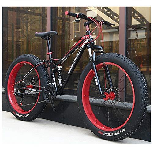 QIMENG 24'/26' Wheel Mountain Bike Fat Bike da Montagna 21/24/27 velocità Telaio in Acciaio Ad Alto Tenore di Carbonio Unisex Mountain Biciclette,Rosso,26inches 21speed