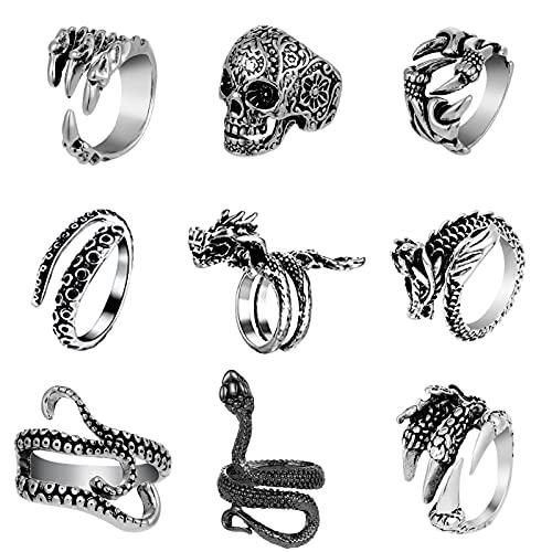 Opopark 9 Stück Punk Ring, Verstellbarer Öffnung Vintage Ring, Gothic Snake Octopus Dragon Schmuck, Gothic Ring für Damen Männer (Silber)