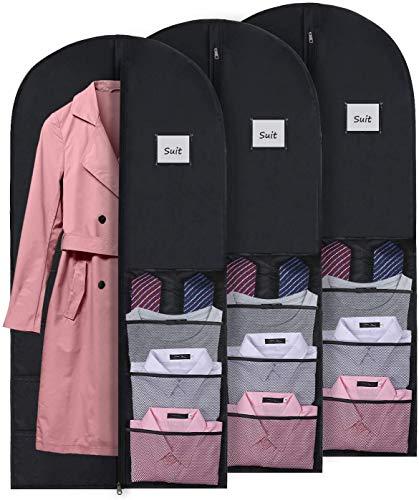 DIMJ 3 Stück Kleidersack Atmungsaktiv Anzug Schutzhülle mit 8 Netztaschen Kleiderhülle mit Reißverschluss und ID-Kartenhalter für Anzug, Kleid, Reisen, Jacke, Mantel, Hemden und Zubehör, Schwarz