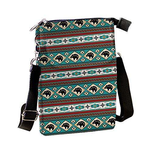 COEQINE Tribal Aztec Bear Print Crossbody Purse Shoulder Bag Travel Multipurpose Daypacks for Girl Teens Sling Backpack
