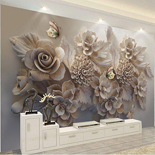 Wallpaper 3D werbung Custom Mural 3D Wallpaper European Aesthetic Three-dimensional Relief 3D Flower Butterfly Living Room Sofa Background Wallpaper 1㎡(1 Quadratmeter)