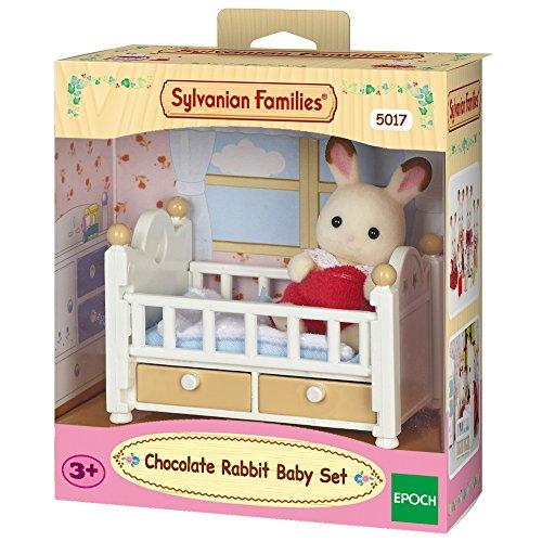 Sylvanian Families 5017 Schokoladenhasen Baby mit Babybett - Puppenhaus Spielset