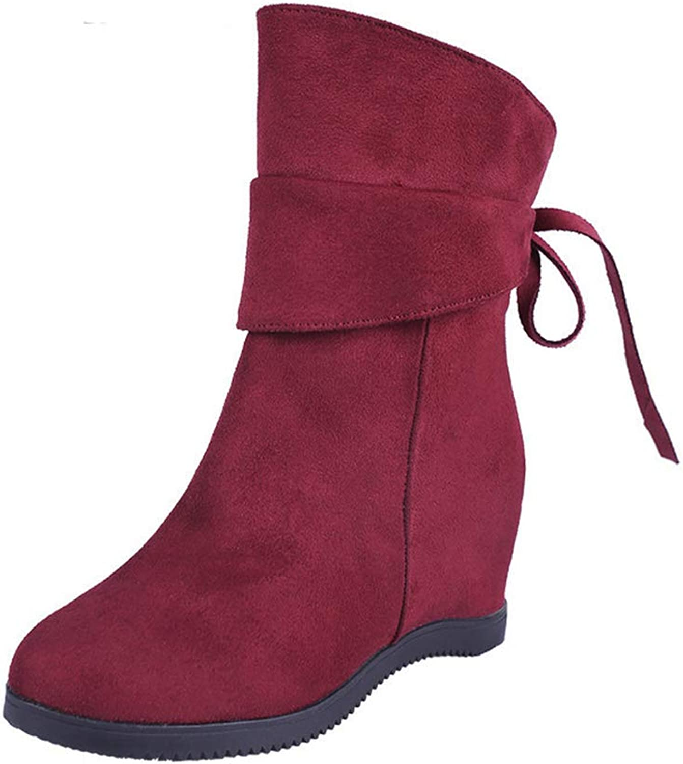Hoxekle Comfortable Casual Wedge Increase Height Boots Women Fashion Rear Tie Bow Decoration Ankle Bootie Female