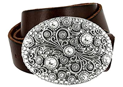 Timeless Tranquility Swarovski Crystal Floral Buckle Genuine Leather Belt for Women (Brown, 36)