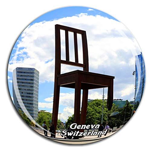 Weekino Defekte Stuhl Skulptur Genf Schweiz Kühlschrankmagnet 3D Kristallglas Tourist City Travel Souvenir Collection Geschenk Stark Kühlschrank Aufkleber