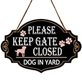 PXIYOU Please Keep Gate Closed Dogs In Yard Wooden Sign Wood Plaque for Lawn Garden Yard Signs with Jute Rope Black 13 x 9 Inch