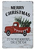 PXIYOU Merry Christmas Trees Funny Truck Retro Vintage Bar Metal Tin Sign Poster Style Wall Art Pub Bar Decor Coffee Cup Signs Size 8X12Inch