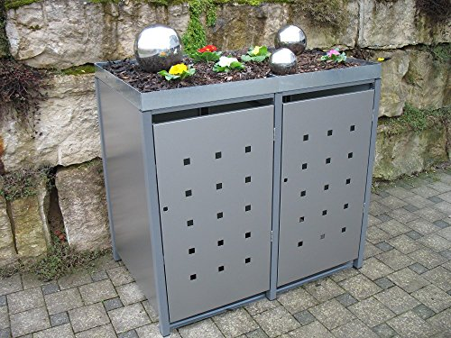 Resorti Mülltonnenboxen Quadra 2-4 Mülltonnen mit 120/240 Liter Volumen Feuerverzinkt und Pulverbeschichtet inkl. Kippvorrichtung und Pflanzdach … (3 x 240 Liter, Anthrazit RAL7016)