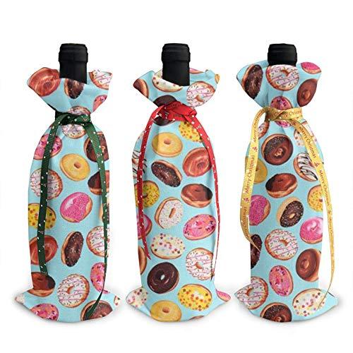 3 bolsas para botellas de vino, deliciosas donas navideñas para bodas, regalos de fiesta, Navidad, vacaciones y suministros para fiestas de vino