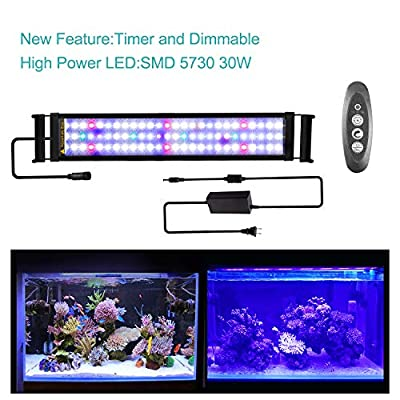 JOYHILL LED Full Spectrum Aquarium Lights,Fish Tank Light with Extendable Brackets,Suitable for Aquatic Reef Coral Plants and Fish Keeping 38W (Fit 150cm-170cm/60-70 inch)