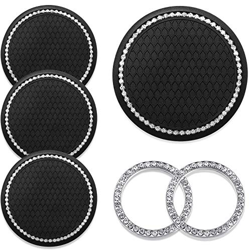 4 Pieces Car Coasters bling car accessories Rhinestone Car Cup Holders Silicone Anti Slip Coasters and 2 Pieces Pink Bling Car Emblem Stickers Car Engine Ignition Button Rings for Most Cars, Trucks