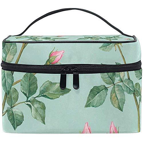 Cosmetic Bag, English Roses Travel Makeup Organizer Bag Cosmetic Case Portable Train Case for Women Girls