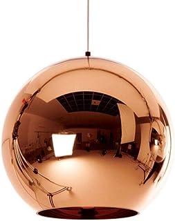 Lámpara colgante moderna de cobre/astilla/oro, bola de cristal, espejo, lámpara colgante, bombilla E27, luz colgante LED para comedor, sala de estar-Cobre_Dia40cm