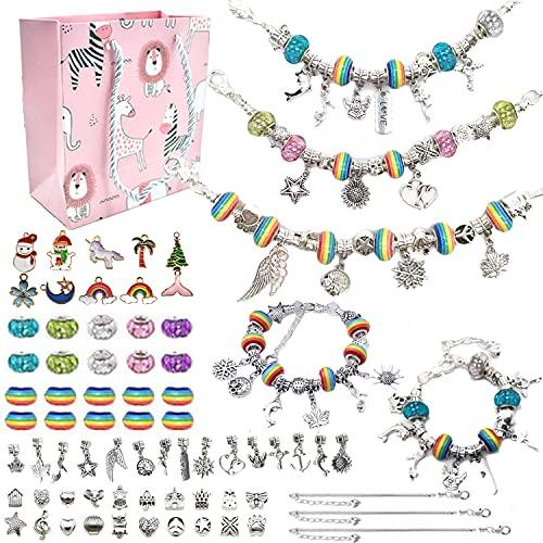 Kit para Hacer Pulseras Niñas, 71Pcs Kit de Fabricación de Joyas Bricolaje con Dijes Colgantes Cuentas Cordones de Collar Juegos de Artesanías para Crear Joyas DIY Regalo para Niñas 4-16 Años