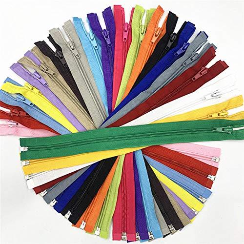 GoGOO 5pcs # 5 Open-Fin (30-70 cm) Cremalleras de Bobina de Nylon para Coser Nylon Cremalleras a Granel 20 Colores