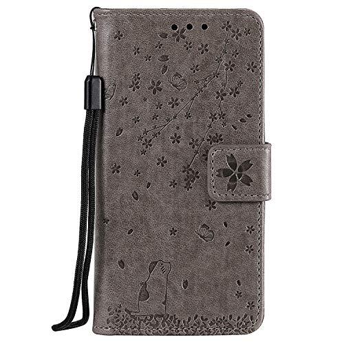 Tosim Galaxy A81 / Note10 Lite Hülle Klappbar Leder, Brieftasche Handyhülle Klapphülle mit Kartenhalter Stossfest Lederhülle für Samsung Galaxy A81/Note 10 Lite -TOHHA130965 Grau