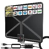 2021 Más Nuevo 380KM Interior Antena TV Digital HD con Alta Ganancia Amplificador de Señal Inteligente,...