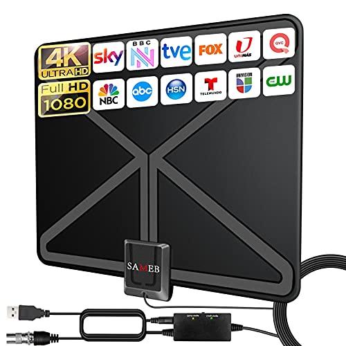 2021 Más Nuevo 380KM Interior Antena TV Digital HD con Alta Ganancia Amplificador de Señal Inteligente, Amplificador Antena TV Ajustable para Todos los TV 4K 1080p de ATSC, DVB-T etc,Cable coaxial 10M