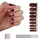 Fired Brick Red with Purple & Gold Glitter Sequins Nail Polish Strips w/ Reusable Glass Crystal File | This Season's Colors | Convenient Salon Quality Manicures & Pedicures for Women, Teens & Kids