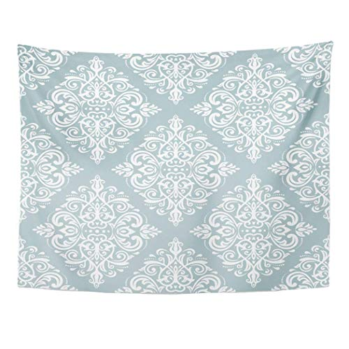 "AOCCK Wandteppiche Tapestry Wall Hanging Floral Damask Classic Light Blue and White Pattern Abstract with Orient Flower Asian 60""x 80\"" Home Decor Art Tapestries for Bedroom Living Room Dorm Apartment"