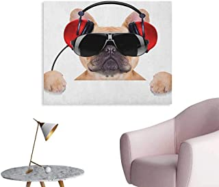Anzhutwelve Popstar Party Photo Wall Paper Dj Bulldog with Headphones Listening to Music Behind White Banner Poster Print Pale Brown Black Red W28 xL20