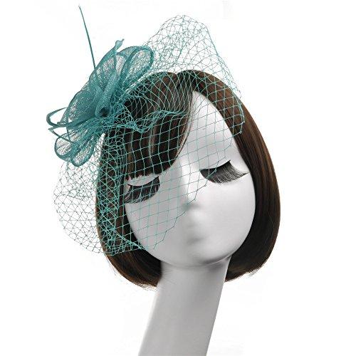 Allibuyah Bandeau Chapeau de Cocktail, Chapeau élégant de tête de Plume de Fleur Fascinator chapellerie de Mariage Mme Course de la Course Royal Ascot (Couleur : Violet)