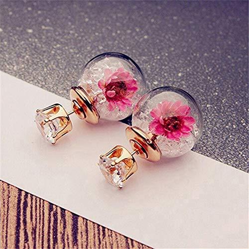TTYJWDWY-Pendientes de Moda y Bonitos, Elegantes y exquisitas Flores de Cristal de circón para niñas, Pendientes de Bola de Cristal de Doble Cara-Blanco