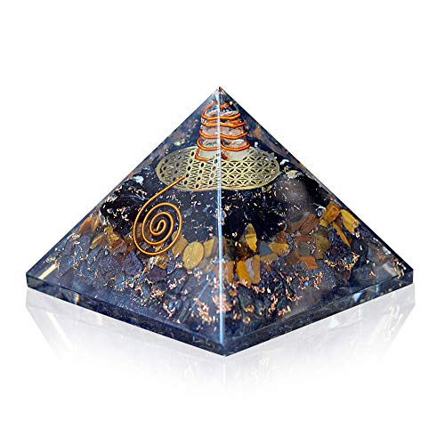 Orgonite Crystal Triple Protection Orgone Pyramid with Black Tourmaline, Tiger Eye and Hematite Crystals – Flower of Life Pyramid Dispels Negative Energy to Promote Luck and Prosperity
