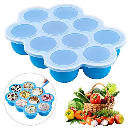 Recipiente para comida de bebé - WENTS Recipientes Molde para Comida de Bebé con Tapa Envase de silicona para congelar alimentos y papillas ideal tamaño de la Porción azul 10 x 75 ml