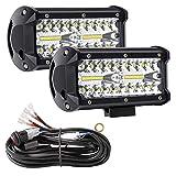 Focos LED Tractor, YEEGO DIRECT 7' 240W Focos de Coche Faros Trabajo LED con Arnés de cableado Barra LED de Faros para Off-Road, Barco, Camión