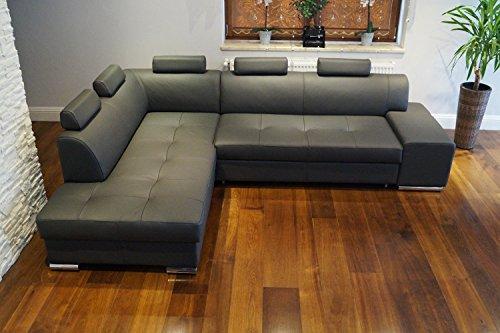 Quattro Meble Echtleder Ecksofa London PIK 5z 275 x 200 Sofa Couch mit Bettfunktion und Bettkasten Echt Leder Eck Couch große Farbauswahl