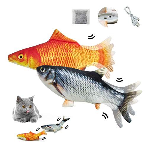 SUNFATT Floppy Fish Cat Toy As Seen On TV,Cat Fish Toy Flopping,USB Charging Fish Cat Toys,Made of Vinylon and Short Plush,Floppy Fish Can Chew and Kick,Reducing Stress for Cats.(Must Tap to Start)