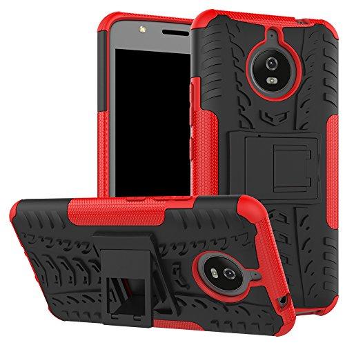 TiHen Handyhülle für Motorola Moto E4 Plus Hülle, 360 Grad Ganzkörper Schutzhülle + Panzerglas Schutzfolie 2 Stück Stoßfest zhülle Handys Tasche Bumper Hülle Cover Skin mit Ständer -rot