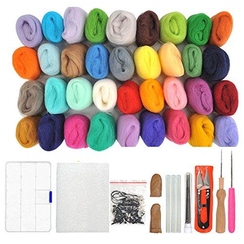 WOWOSS 36 Farben Filzwolle Set mit Filzwolle Werkzeug, Nadelfilz Wolle Set Filzwolle Märchenwolle Werkzeug Filznadeln DIY Starter Kits für Kinder und Familien Nadel DIY Anfänger