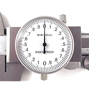 150 mm Metric Dial Calipers Accurate to 0.02 mm per 150 mm Hardened Stainless Steel for Inside, Outside, Step and Depth Measurements MDC-6