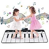 Funkprofi Tanzmatte, Musikmatte für Kinder, Klaviermatte mit 8 Instrumenten, Klaviertastatur Musik Playmat rutschfest Spielteppich für Babys, Kinder, Mädchen und Junge (Weiß/Schwarz, 100x36 cm)