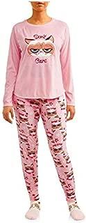 Women's Grumpy Cat Plush Fleece 3-Piece Sleepwear Pajama Set