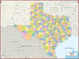 36 x 27 Texas State Wall Map Poster with Counties - Classroom Style Map with Durable Lamination - Safe for Use with Wet/Dry Erase Marker - Brass Eyelets for Enhanced Durability