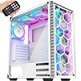 MUSETEX ATX Mid-Tower Chassis 6 PCS 120mm Fans ARGB Lighting System USB 3.0 Voice Remote Control 2 Tempered Glass Panels PC Gaming Case, White(903MS6W)