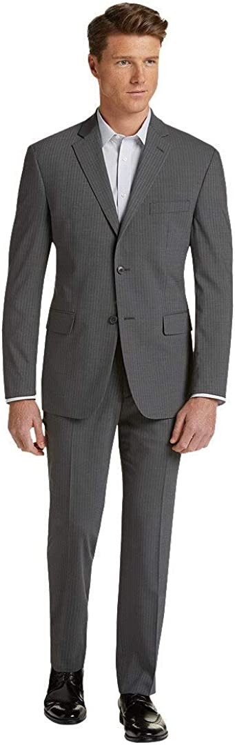 Jos. A. Bank Men's Tailored Fit 1905 Collection 2 Button Suit in Grey Pinstripe