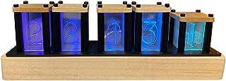 レトロモダン RGBグローデジタル置き時計 ニキシー管風 シミュレーショングロー管電子時計 LED 1600万色 DIY 卓上 ウッド おしゃれ 複数の点灯パータン インテリア 贈り物に最適(ハードメープル)