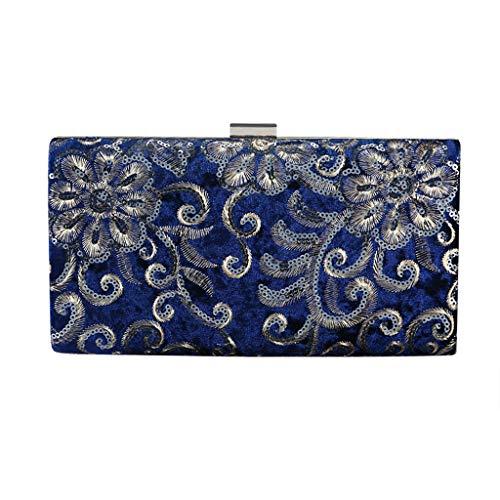 About1988 Damen Abend Handtasche Diamond Abendtaschen, Elegante Kettentasche, Stickerei drucken Unterarmtasche Umhängetasche mit Strass-Steinen und abnehmbarer Kette (Blau)