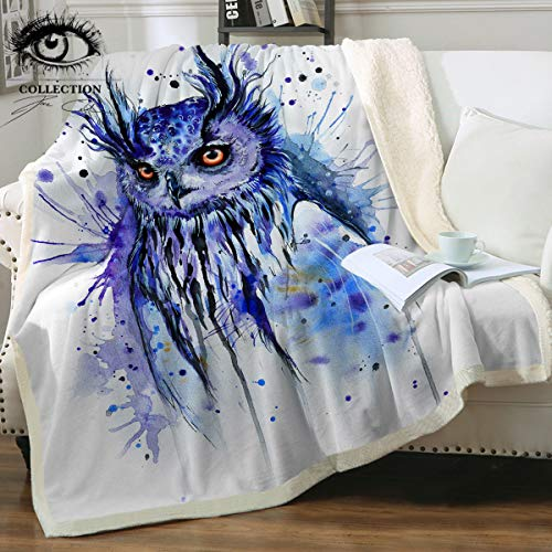 Review Space by Pixie Cold Art Watercolor Animals Throw Blanket Reversible Sherpa Fleece Blanket Plu...