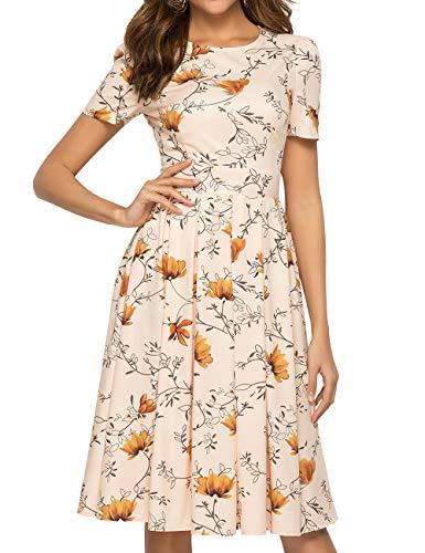 Simple Flavor Women's Floral Summer Midi Dress Vintage Evening Dress Short Sleeve(0003Purple,XL)